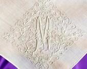 Vintage White Linen Handkerchief w/ Embroidered Monogram M & Intricate Design // bridal hankie, bridal gift, wedding, something old (H-274)