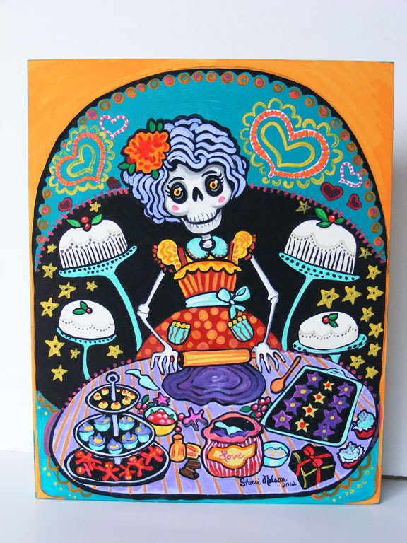 Day of the Dead Art Mexican Kitchen decor by BonesNelson on Etsy
