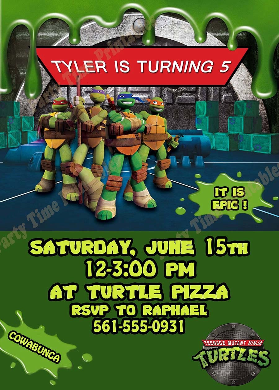 Personalized Ninja Turtle Invitations for amazing invitation sample