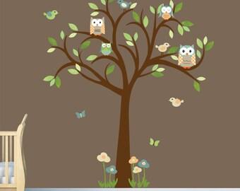 Boy Room Wall Decal, Owl Tree Wall Decal, Owl tree wall sticker, owl wall decal, Nursery owl decor, Large Timothy Owl Tree