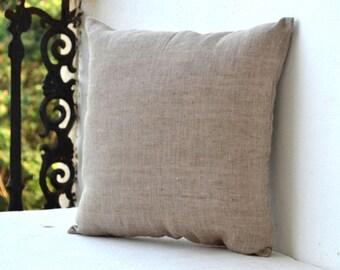 Linen Throw Pillow Cover, Decorative Pillow Covers, Brown Linen, Linen Cushion Zipper, Housewarming Gift, Anniversary Gift, Autumn Pillow