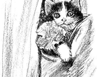 Pocket Cat Black/White Drawing Print