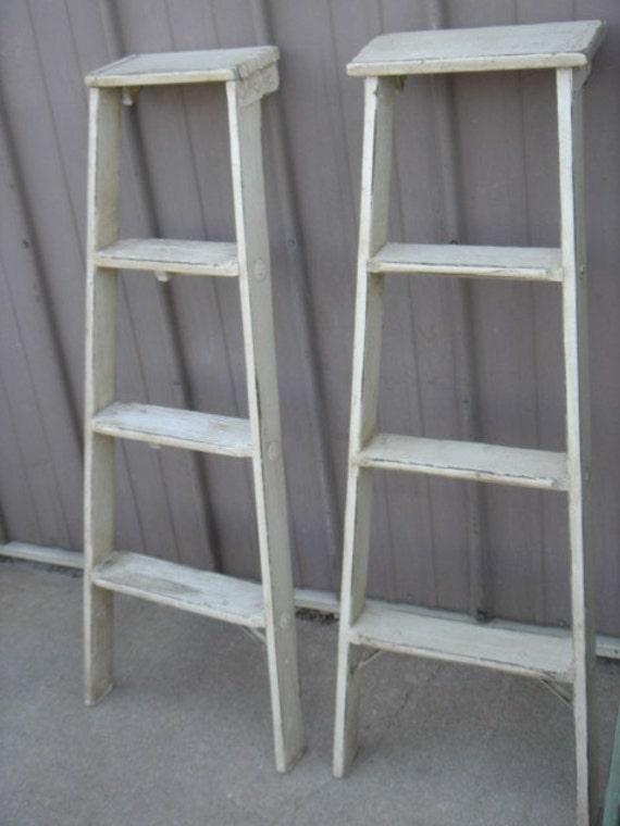 vintage wooden 4 step ladder shelf 46 tall choose a. Black Bedroom Furniture Sets. Home Design Ideas