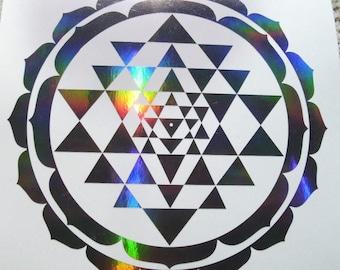 Sri Yantra Holographic FX Vinyl Decal. Various Colours