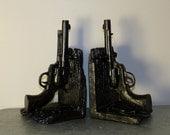Father's Gift, Gun Book Ends, 2 Bookends, Gun Bookends, Office Decor, Book Collectors, Gun Collectors, Dorm Decor, Dad Gift
