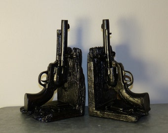 Father's Gift, Gun Book Ends, 2 Bookends, Gun Bookends, Office Decor, Book Collectors, Gun Collectors, Dorm Decor, Dad Gift
