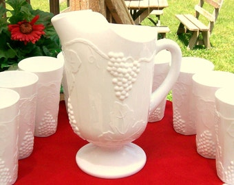 "Indiana Glass  ( 10 PIECE )  Milk Glass Beverage Set Colony Harvest Grape Pattern ""Pitcher and 9 Large Tumblers"" EXCELLENT"