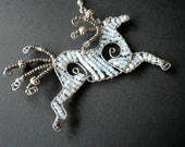 Wild Horse- Coyboy- Cowgirl- Free Formed Beaded Wire Craft- Rear View Mirror Charm- Window Charm - CassieVision