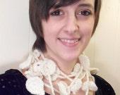 Crochet lariat/ Crochet lariat scarf/ leaf shape lariat in cream