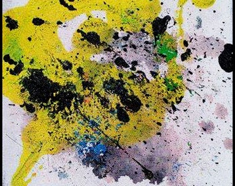 Original Painting - Abstract Painting with Yellow, Black, White & Green by David Lawter