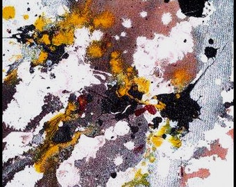 Original Painting - Abstract Painting with Red, Black, White, Silver & Yellow by David Lawter