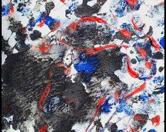 Original Painting - Abstract Painting with Black, Red, Blue & White by David Lawter