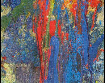 Giclee Archival Print  - Abstract Painting with Green, Red, Blue, Yellow, Glitter by David Lawter