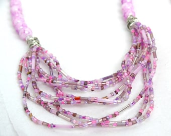Bright Pink & Purple Drape Beaded Jewelry Set