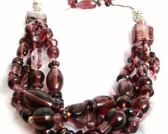 Plum Glass Beads Drape Necklace & Matching Bracelet