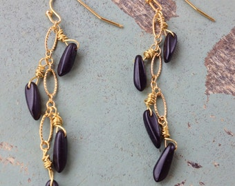 Modern Cascade Earrings Black & Gold Filled