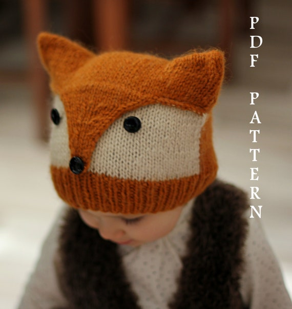 Knitting Pattern Fox Hat : Patron tricot bonnet Foxy & Wolfie tailles: Tout par KatyTricot