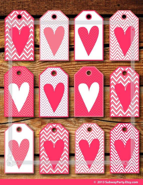 Printable Valentineu0027s Day Gift Tags In Pink U0026 White Chevron With Hearts.  Geometric Style. DIY. Letter Size Jpg. INSTANT DOWNLOAD.