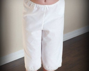 SALE! Straight Leg White Lace Pantalettes Pantaloons by Steady As She Goes girls 2 3 4 5 6 7 8 10 12 eyelet bloomers petticoat slip knickers