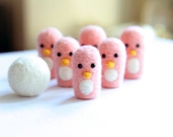 Needle Felted Pink Penguin Bowling Toy - Handmade Penguin Mini Game- Kids Toy - Limited Edition