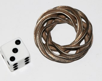 Bronzed stainless steel geometric pendant 1.6 inches 41 mm diameter