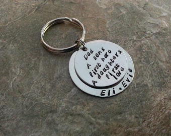 "Father's Day - DAD - ""A Son's First Hero, A Daughters First Love"" Hand Stamped Keychain"