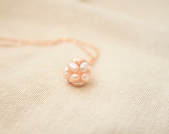 Pink Pearls Ball Rose Gold Everyday Necklace with free gift box, solitaire minimalist tiny cluster bridesmaid