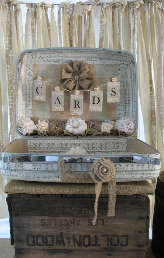 Vintage Suitcase For Wedding Card Holder For A Rustic Style