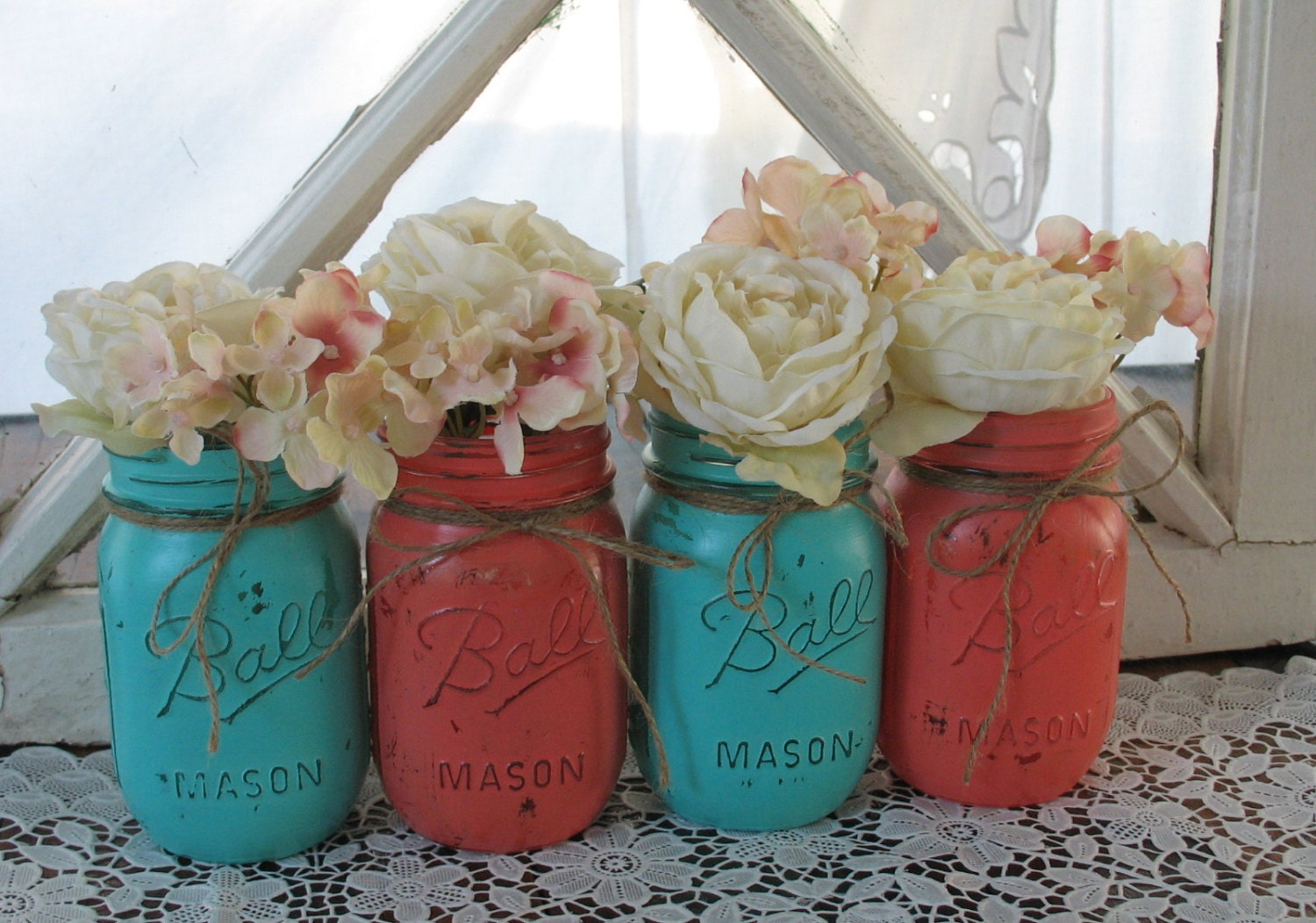 il_fullxfull.459271668_6zys coral and turquoise mason jars on fancy birthday cakes in atlanta