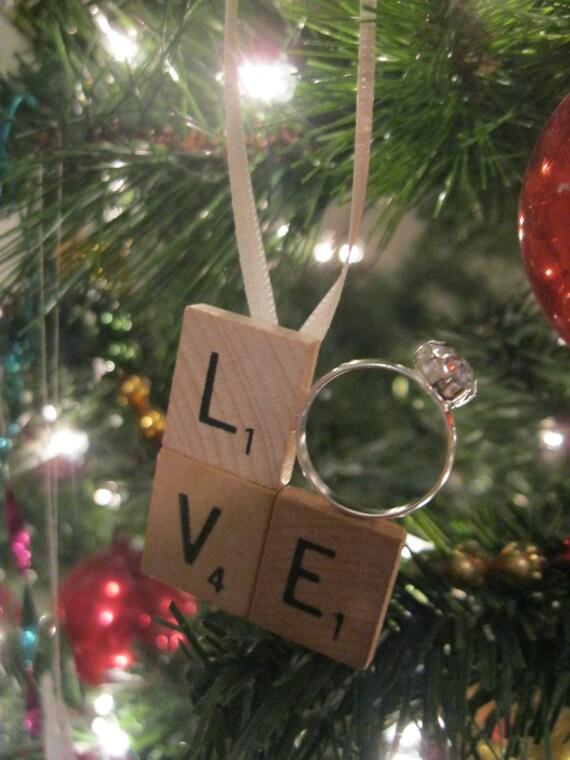 Scrabble Tile LOVE Engagement Ring Christmas Ornament Just