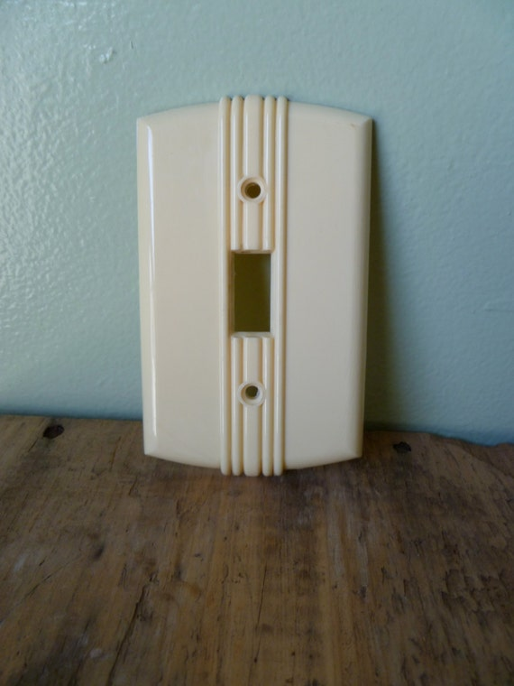 Vintage cream art deco light switch cover bell by bromptonwoods - Art deco switch plate covers ...