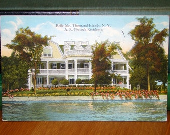 Vintage Postcard, Belle Isle, Thousand Islands, New York 1920s Paper Ephemera