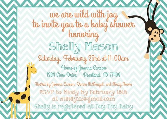 custom zoo themed baby shower invitation digital file