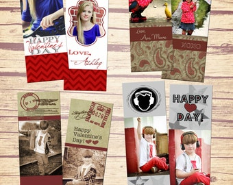 SET of 4 Photo Bookmark Templates 2x7 - Valentine's Day