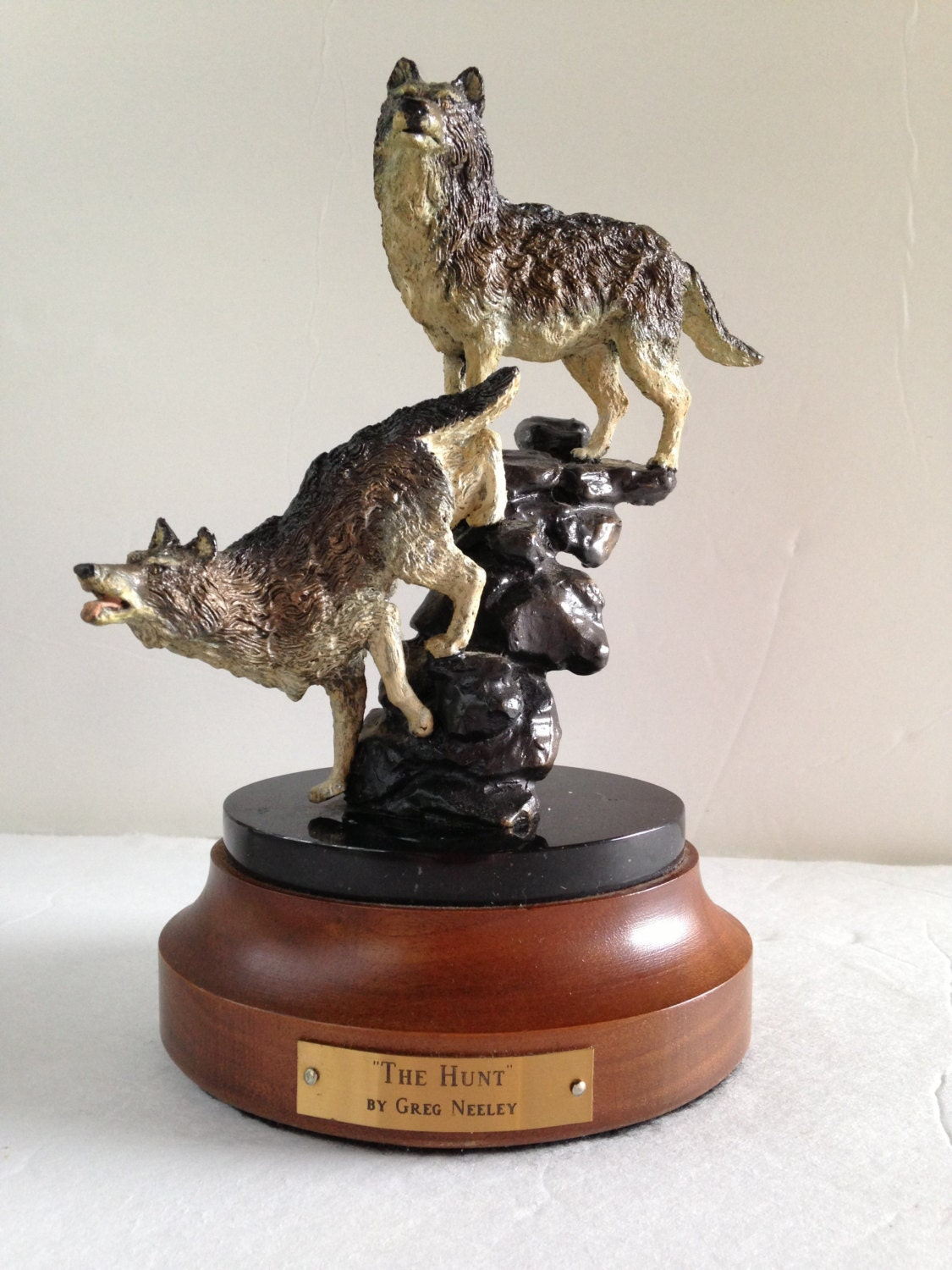 Greg neely the hunt wolf sculpture pewter metal