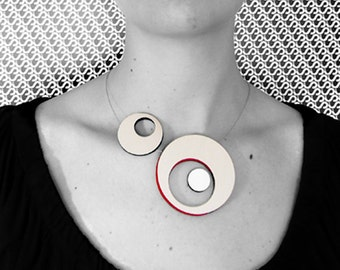 Contemporary Jewelry, Circle Handmade Necklace, silver and red, Gift for her, Modern Sophisticated necklace,Minimal, necklace with circles,