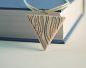 Handpainted pendant, Geometric, Blue, Gray, Blue, White, Pastel colors, For her, Gift idea, Casual, Beige pendant, triangle