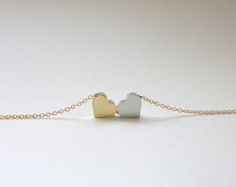 Heart necklace, Double heart necklace, Heart jewelry, Wedding jewelry, Bridesmaid gift, Valentines day jewelry