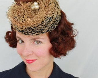 In-Stock: 1930s/1940s Style Faux Bird Tilt Hat with Nest & Eggs