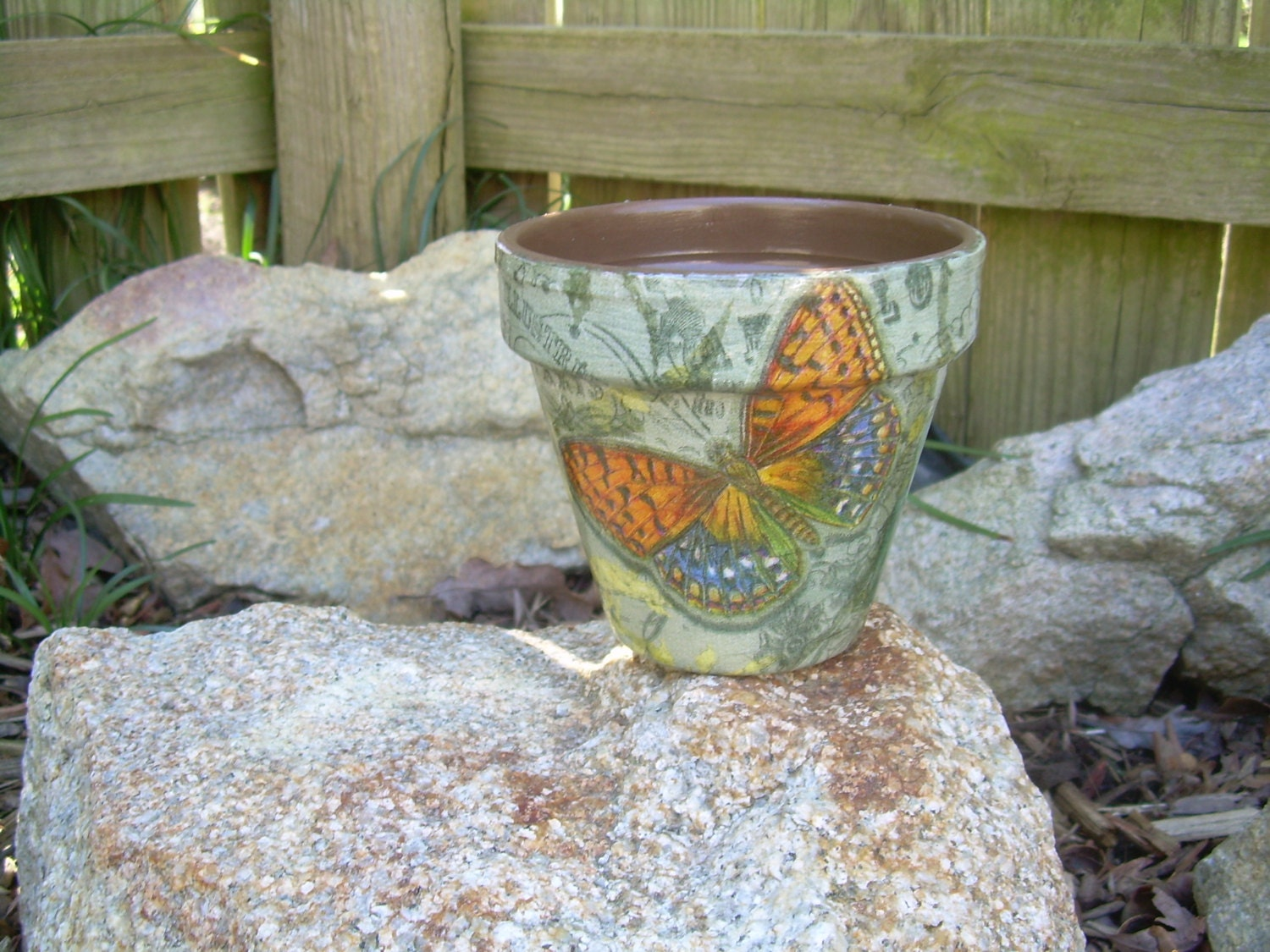 Handmade Decoupage Brown Clay Flower Pot Butterfly