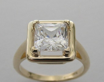Ring Setting Unique Square Princess Shape Design Gold Made In The USA
