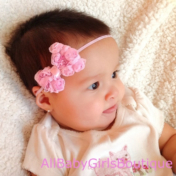 Pink Bow Headband, Infant Headband Bow, Newborn Headband, Baby Shower Gifts, Girls Gifts, Hair Bow Headband, Girls Wedding