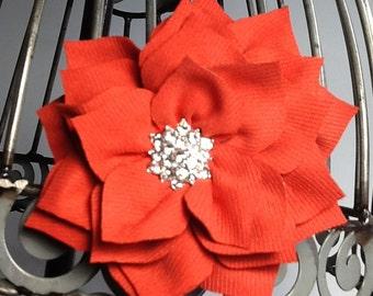 Orange hair clip, orange hair flower, fabric hair flower with rhinestone center, orange hair accessory, flower hair clip