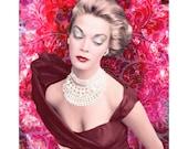 Vintage glamour goddess photomontage digital art print burgundy red pink wall art