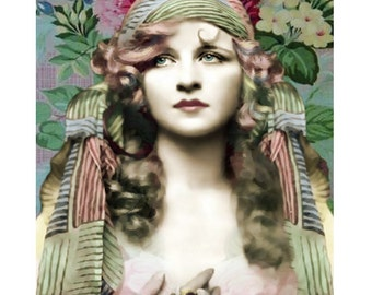 Gypsy flapper, burlesque goddess, photomontage, digital print, vintage boho, vintage flapper, vintage print, home decor, fine art, wall art