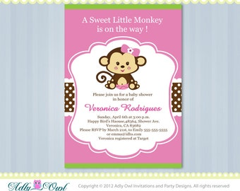 Pink Lime Green Girl Monkey Jungle Monkeys Baby Shower Printable DIY party invitation for girl in pink, brown, green-ao37bs