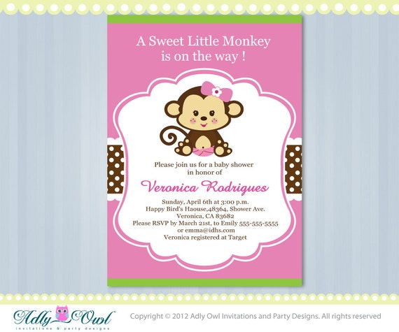 Exceptional Pink Lime Green Girl Monkey Jungle Monkeys Baby Shower Printable DIY Party  Invitation For Girl In Pink, Brown, Green Ao37bs