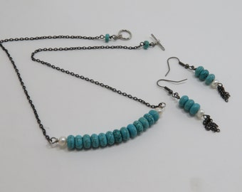 Turquoise and Chain Necklace and Earring Set - READY TO SHIP - Jewelry Set - Turquoise and Pearl Set - Women's Jewelry