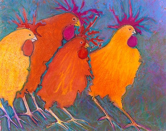 Making a Break for It - Funky Fun Whimsical Chickens - High quality archival giclee art print.