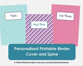 Personalised Printable Binder Cover and Matching Spine - Chevron Binder Cover, Hearts, Stripes Binder Cover - Organisation